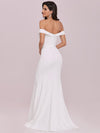 Plain Solid Color Off Shoulder Mermaid Wedding Dress-Cream 6