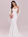 Plain Solid Color Off Shoulder Mermaid Wedding Dress-Cream 4