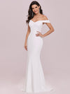 Plain Solid Color Off Shoulder Mermaid Wedding Dress-Cream 7