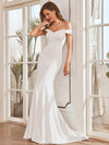 Plain Solid Color Off Shoulder Mermaid Wedding Dress-Cream 2