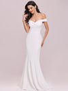 Plain Solid Color Off Shoulder Mermaid Wedding Dress-Cream 5