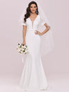 Plunge Neck Lace Bodice Floor Length Fishtail Wedding Dress-Cream 2