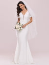 Plunge Neck Lace Bodice Floor Length Fishtail Wedding Dress-Cream 3