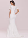 Plunge Neck Lace Bodice Floor Length Fishtail Wedding Dress-Cream 4
