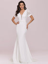 Plunge Neck Lace Bodice Floor Length Fishtail Wedding Dress-Cream 1