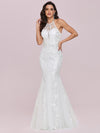 Women'S Halter Maxi Lace & Tulle Mermaid Wedding Dress-Cream 2