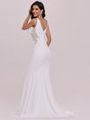 Elegant Deep V-Neck See-Through Fishtail Wedding Gown-Cream 5