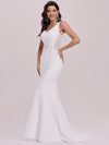 Elegant Deep V-Neck See-Through Fishtail Wedding Gown-Cream 6
