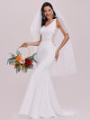 Elegant Deep V-Neck See-Through Fishtail Wedding Gown-Cream 7