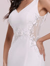 Elegant Deep V-Neck See-Through Fishtail Wedding Gown-Cream 8