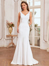 Elegant Deep V-Neck See-Through Fishtail Wedding Gown-Cream 3