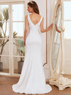 Elegant Deep V-Neck See-Through Fishtail Wedding Gown-Cream 2