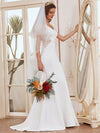 Elegant Deep V-Neck See-Through Fishtail Wedding Gown-Cream 1