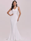 Elegant Deep V-Neck See-Through Fishtail Wedding Gown-Cream 4