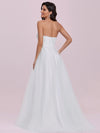 Elegant Embroidered Floor Length Strapless Wedding Dress-Cream 5