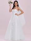 Elegant Embroidered Floor Length Strapless Wedding Dress-Cream 6