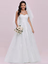 Elegant Embroidered Floor Length Strapless Wedding Dress-Cream 7