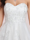 Elegant Embroidered Floor Length Strapless Wedding Dress-Cream 8