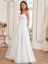 Elegant Embroidered Floor Length Strapless Wedding Dress-Cream 2