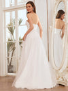 Elegant Embroidered Floor Length Strapless Wedding Dress-Cream 3