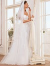Elegant Embroidered Floor Length Strapless Wedding Dress-Cream 1