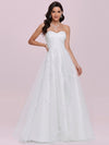 Elegant Embroidered Floor Length Strapless Wedding Dress-Cream 4