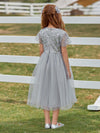Cute A-Line Round Neck Tulle Flower Girl Dress With Sequin-Grey 3