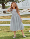 Cute A-Line Round Neck Tulle Flower Girl Dress With Sequin-Grey 2