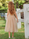 Dainty Sleeveless Tulle Flower Girl Dress For Wedding With Sequin-Gold 2