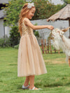 Dainty Sleeveless Tulle Flower Girl Dress For Wedding With Sequin-Gold 3