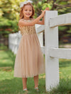 Dainty Sleeveless Tulle Flower Girl Dress For Wedding With Sequin-Gold 4