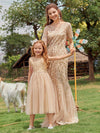 Dainty Sleeveless Tulle Flower Girl Dress For Wedding With Sequin-Gold 6