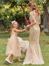Dainty Sleeveless Tulle Flower Girl Dress For Wedding With Sequin-Gold 7