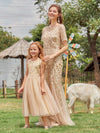 Dainty Sleeveless Tulle Flower Girl Dress For Wedding With Sequin-Gold 8