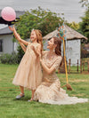 Dainty Sleeveless Tulle Flower Girl Dress For Wedding With Sequin-Gold 9