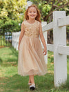 Dainty Sleeveless Tulle Flower Girl Dress For Wedding With Sequin-Gold 1