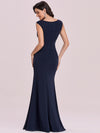 Floral Applique Bodycon Fishtail Long Mother Of The Bride Dress-Navy Blue 4