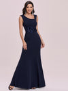 Floral Applique Bodycon Fishtail Long Mother Of The Bride Dress-Navy Blue 3