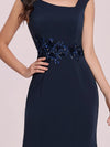 Floral Applique Bodycon Fishtail Long Mother Of The Bride Dress-Navy Blue 5