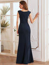 Floral Applique Bodycon Fishtail Long Mother Of The Bride Dress-Navy Blue 2