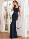 Floral Applique Bodycon Fishtail Long Mother Of The Bride Dress-Navy Blue 1