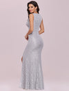 Elegant Sleeveless Round-Neck Split Lace Maxi Mother Of Bride Dress-Grey 5