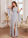 Elegant Sleeveless Round-Neck Split Lace Maxi Mother Of Bride Dress-Grey 1