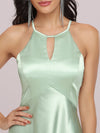 Soft Halter Open Back High Low Bridesmaid Dress-Mint Green 5