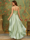 Soft Halter Open Back High Low Bridesmaid Dress-Mint Green 2
