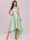 Soft Halter Open Back High Low Bridesmaid Dress-Mint Green 1