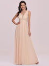 Comfy Deep V Neck A-Line Tulle Prom Dress For Women-Blush 4