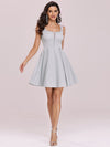 Fancy Square Neck Above Knee Prom Dress-Grey 5