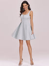 Fancy Square Neck Above Knee Prom Dress-Grey 6