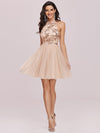 Stylish Halter Neckline Sequin Bodice Short Tulle Prom Dress-Blush 4